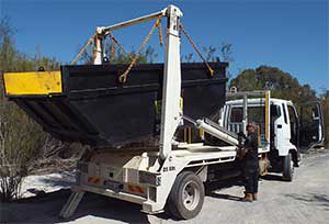 small photo of Stride skip bin unloaded from back of truck